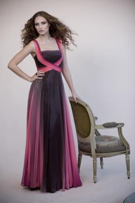 שמלת ערב שיפון שחור וורוד