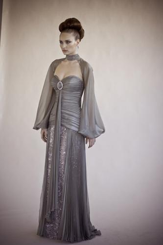 שמלת ערב אפרפרה עם פייטים
