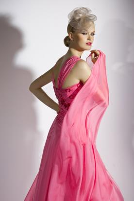 שמלת ערב ורודה כתפיות עבות