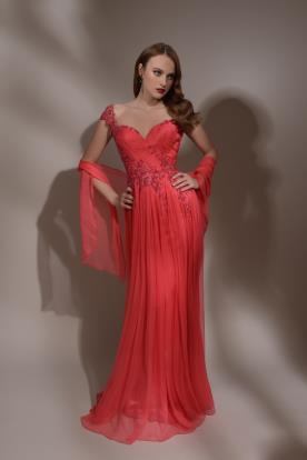 שמלת ערב אדומה רומנטית