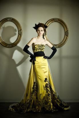 שמלת ערב צהובה תחרה שחורה
