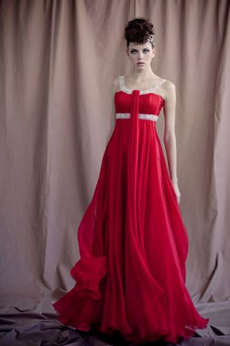 שמלת ערב שיפון אדום