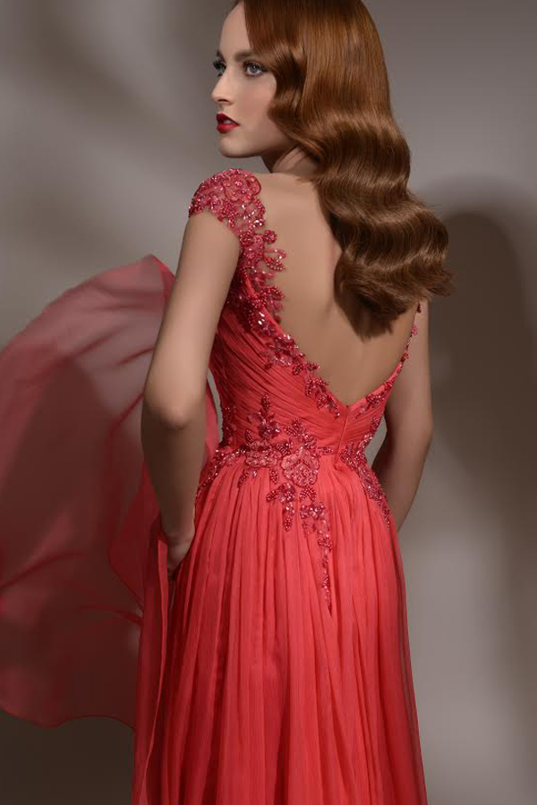 שמלת ערב אדומה תחרה מחרוזת