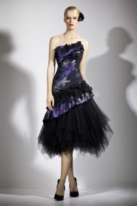 שמלת ערב טול שחור נפוח