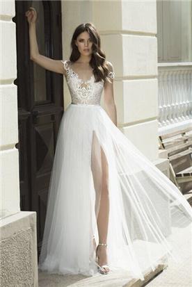 תחרה רקומה בשמלת כלה