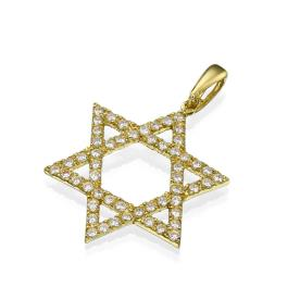 שרשרת: תכשיט לאישה, תכשיט עם יהלומים, תכשיט מזהב צהוב, תכשיט בעיצוב עדין, תכשיט בעיצוב גיאומטרי, תכשיט בעיטור כוכבים, יהלומים - אוריאל תכשיטים