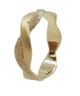 טבעת זהב קלועה גלית