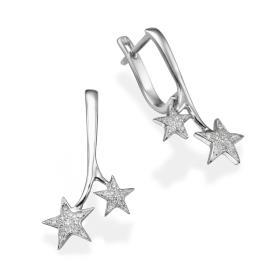 עגילי כוכבים משובצים יהלומים