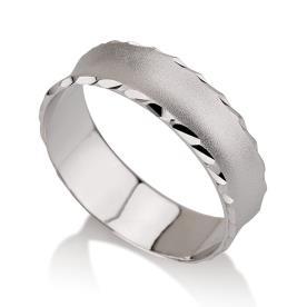 טבעת נישואין זהב לבן קצה מרוקע