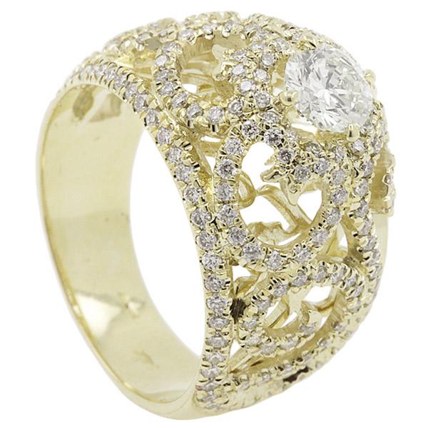 טבעת אירוסין זהב צהוב ולבבות