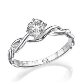 טבעת אירוסין זהב לבן קלוע