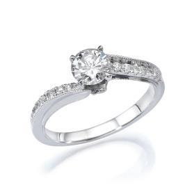 טבעת אירוסין זהב לבן אסטימרי