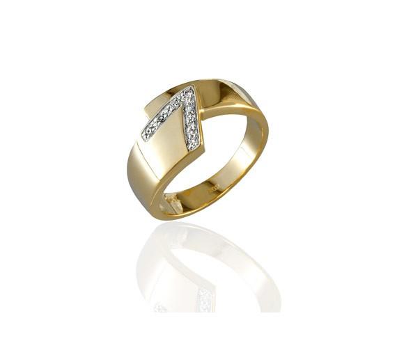 טבעת אירוסין אסימטרית זהב