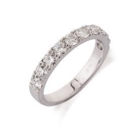 טבעת אירוסין שורת יהלומים קצרה