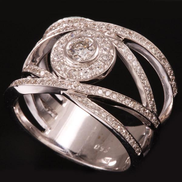 טבעת אירוסין גיאומטרית מכסף