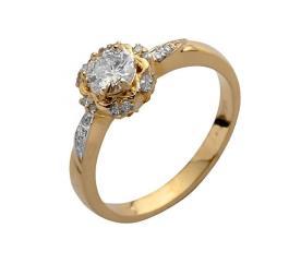 טבעת אירוסין יהלום על פרח