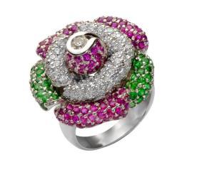 טבעת אירוסין פרח ירוק וורוד
