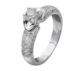 טבעת אירוסין זהב לבן שקוע ויהלום