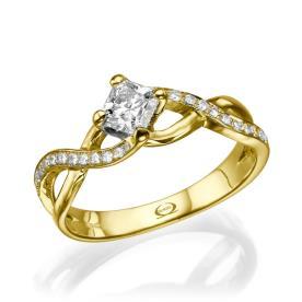 טבעת אירוסין בסגנון קלוע משובץ