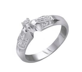 טבעת אירוסין זהב לבן רחבה