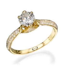 טבעת סוליטייר קלאסית משובצת
