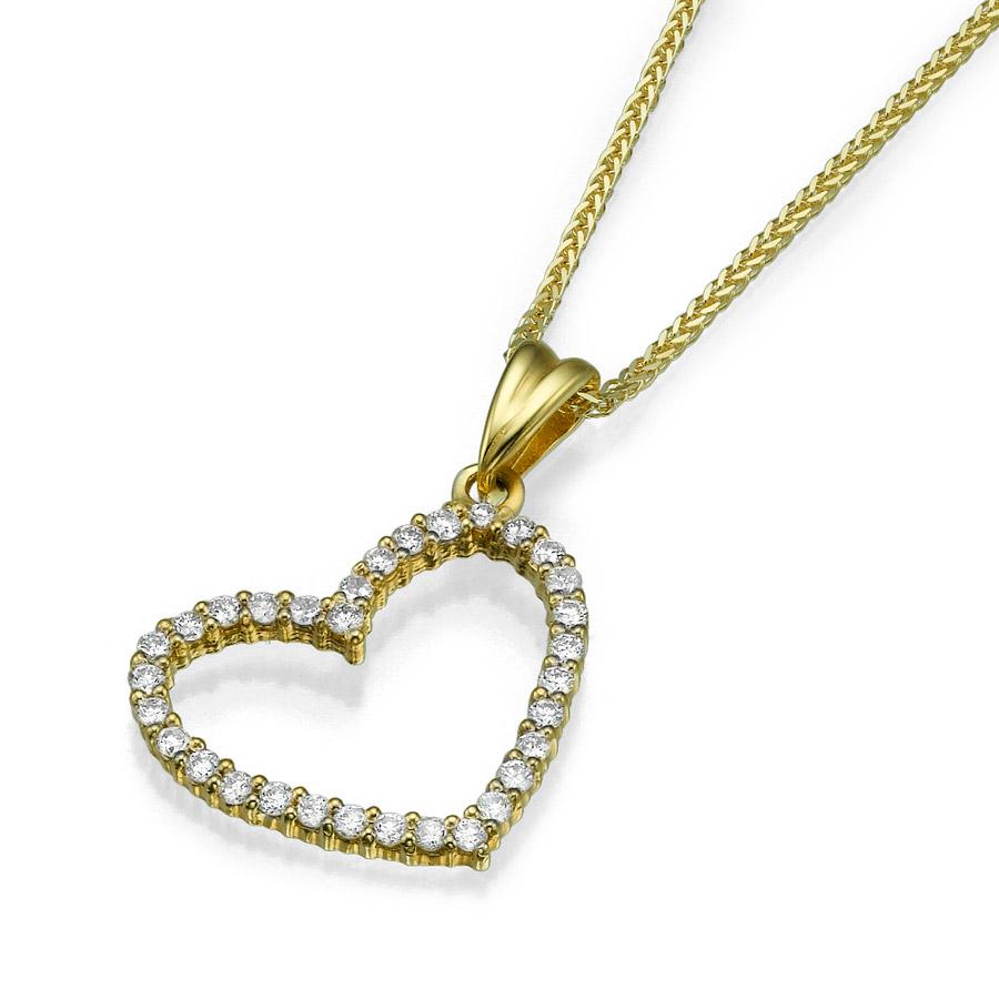 שרשרת זהב צהוב בצורת לב