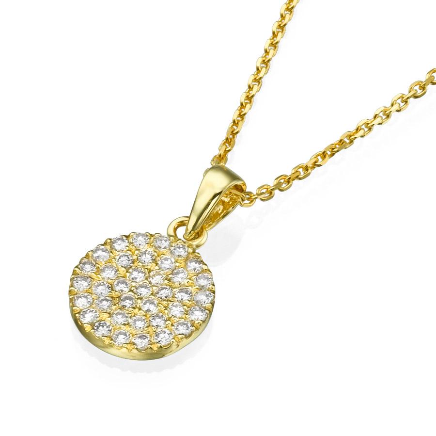 תליון בצורת עיגול משובץ יהלומים