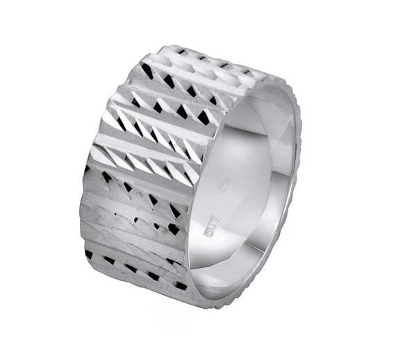 טבעת נישואין זהב לבן גאומטרית
