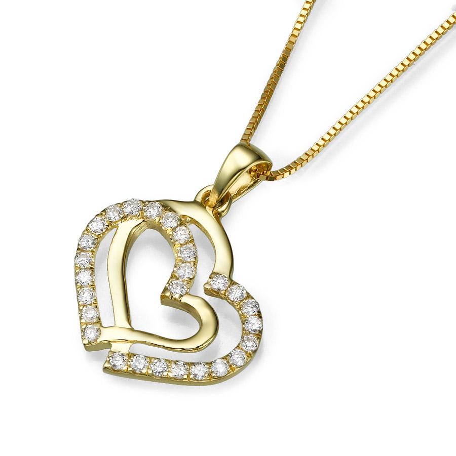 שרשרת זהב צהוב עם לב כפול