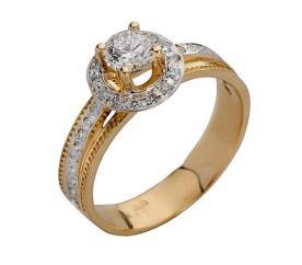 טבעת אירוסין יהלום מוקף טבעת