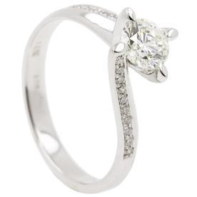 טבעת אירוסין אסימטרית יהלום עדין