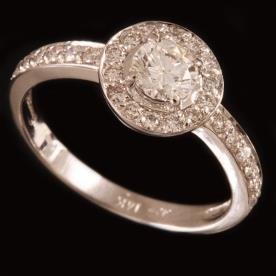 טבעת אירוסין זהב לבן עיגול גדול