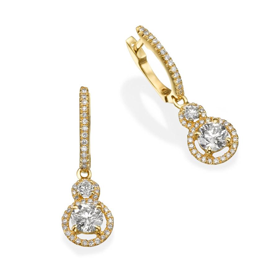 עגילי יהלומים בעיצוב קלאסי