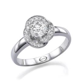טבעת אירוסין פרח במרכז