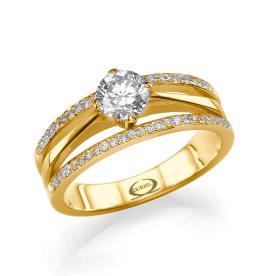 טבעת אירוסין משולבת רחבה