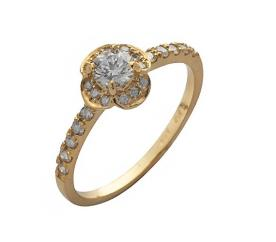 טבעת אירוסין יהלום פרח
