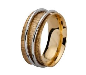 טבעת נישואין מוקפת בזהב לבן