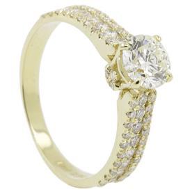 טבעת אירוסין זהב צהבהב ויהלומים