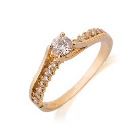 טבעת אירוסין עדינה מזהב צהוב
