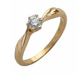 טבעת אירוסין סוליטר זהב צהוב