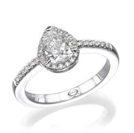 טבעת סוליטייר בדוגמת טיפה
