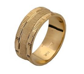 טבעת נישואין זהב מפוספסת