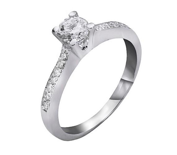 טבעת אירוסין קלאסית זהב לבן