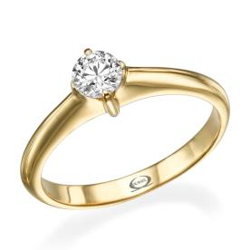 טבעת סוליטייר עם יהלום עגול