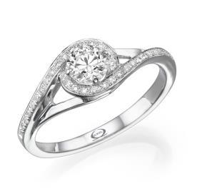 טבעת אירוסין בסגנון סימטרי משובץ
