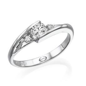 טבעת אירוסין זהב לבן יהלום מרובע