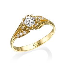 טבעת אירוסין עם פרח משובץ