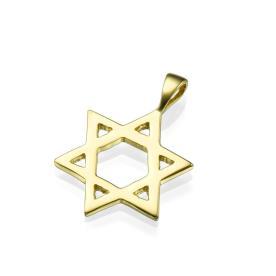 תליון יודאיקה מגן דוד זהב צהוב