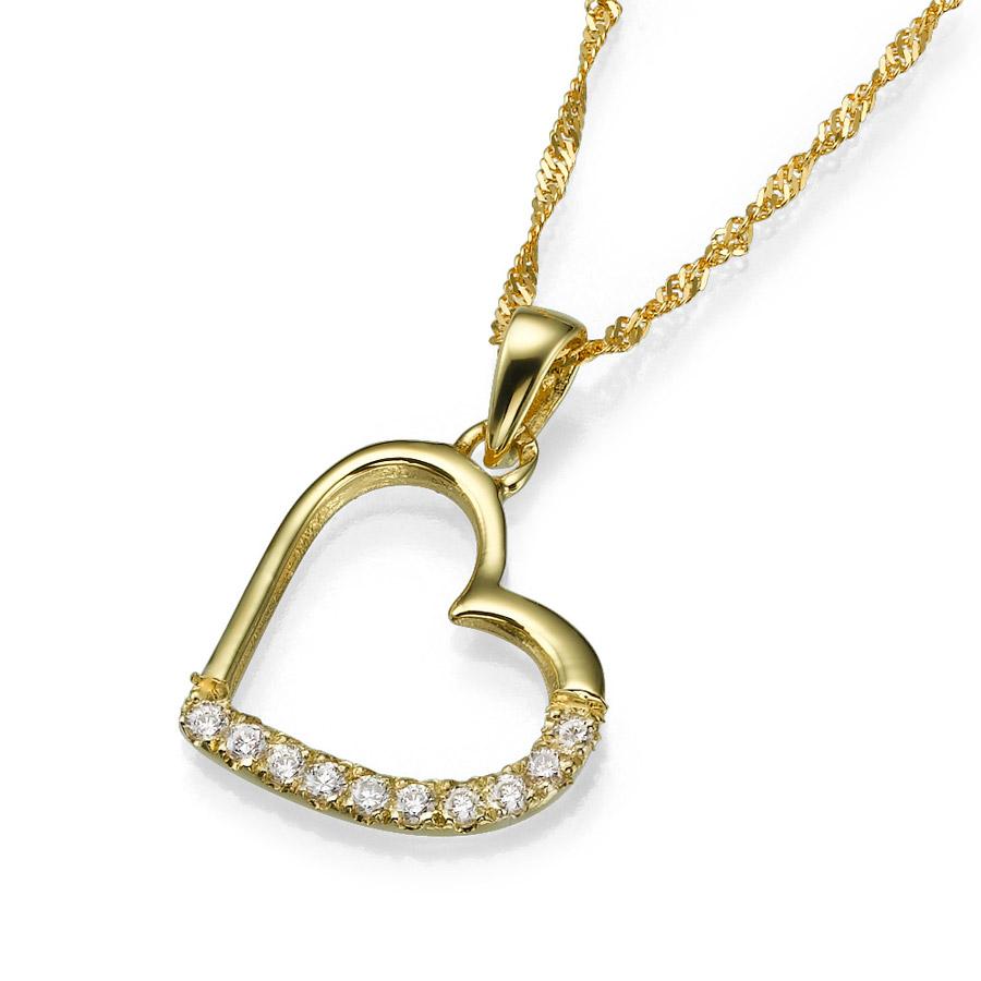 תליון בצורת לב משובץ יהלומים
