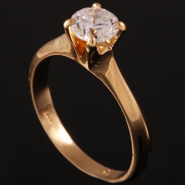 טבעת אירוסין סוליטר קלאסית זהב